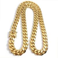 Collar de cadena de enlace cubano de oro de Miami Hombres Hombre Hip Hop Joyas de acero inoxidable Collares