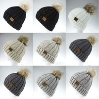 Knitted Hats Pom Pom Wool Skull Caps Winter Outdoor Beanie w...