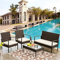 US Warehouse U Style 4 Piece Sofa Garden Sets Seating Group with Cushions Outdoor ratten set Fast Shipping New WF190609AAA