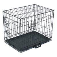 """Waco 24 """"Pequeno cão de estimação CAGE CAGE, Múltiplas portas dobrável Metal Cat Craga de aço wtih Pan Plástico, Gaiolas de arame de playpen de coelho animal, preto"""