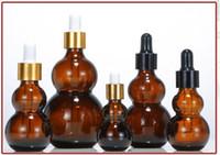 30ml zucca bottiglie di vetro liquido reagente pipetta di vetro Bottiglia contagocce con tondo di vetro testa contagocce tappi di plastica all'ingrosso