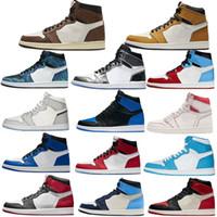 2020 new  Con los calcetines libres nuevo 1 zapatos de baloncesto de alto HOMENAJE A CASA FANTASMA GYM ROJO Chicago TOP 3 LAKERS 1s deportes tamaño zapatilla de deporte 36-47