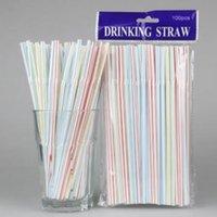 100 unids / bolsa de plástico desechable Paja de bebida 20.8 * 0.5 cm Paja de bebida multiacolor multicolor para Party Bar Pub Club Restaurant
