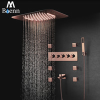럭셔리 로즈 골드 뮤직 샤워 시스템 LED 샤워기 욕실 수도꼭지 레인 샤워 세트 온도 조절 황동 숨어서 믹서 목욕을 누릅니다