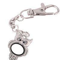 10pcs / lot de los animales redondas búho de cristal abierta medallón de giro del anillo dominante de Memoria Viva Imán de cristal llaveros Locket de encantos flotantes