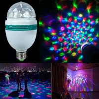 E27 LED RGB لمبة 6W 9W 110V 220V ملون تدوير السيارات العرض كريستال أدى ضوء المرحلة سحر الكرة DJ تأثير ديسكو حزب مصباح