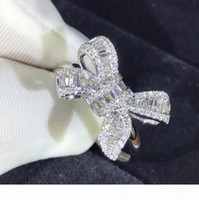 A Choucong New Arrival Luxury Jewelry 925 Sterling Silver T Princess Cut White Topaz Cz Diamond Party Butterfly Women Wedding Band Ring