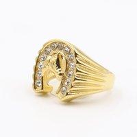 Fajny design złoty kryształ szczęście podkowy pierścień z biżuterii wyścigowej ze stali nierdzewnej złoty konia głowy pierścień palec