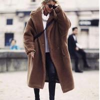 Kadın Yün Karışımları Bayan Moda Kış Boy Uzun Deve Mont Yüksek Kalite Faux Kürk Bulanık Ceket Kahverengi Shaggy Coat