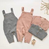 Baby-Knit Satz-Kleidung Neuen 2020 Frühlings-Herbst-Säuglingsbaby-reine Farben-Wolljacke-Mantel + Overalls Kleidung Sets Kind-Klage 0927