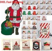DHL Shipping Christmas Gift Bag with Reindeer Santa Claus Sack Cotton Environmental Protection Bundle Mouth Canvas Bag moose Christmas bag