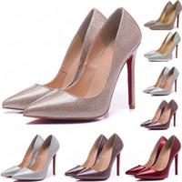 Горячие 2020 Так Кейт Стили 8 см 10 см 12 см высокие каблуки обуви красный Bottom Nude цвет натуральная кожа точка Toe насосы Резина РАЗМЕР 35-45