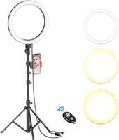 Дистанционные 10 дюймовые кольцевые светильники с штативной стойкой Рабочий стол Dimmable Selfie кольцо света Светодиодная камера камеры с держателем телефона для живого потока / макияжа / видео