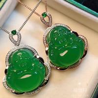 Нефрит зеленый Будда кулон Природные Джейд Ice Seed зеленый халцедон Майтрейя Big Belly Смеющийся Будда ключицы цепи ожерелье стерлингового серебра