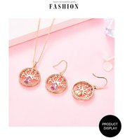 Rose gold plated earring and necklace wedding jewelry set with ctystal from Swarovski The tree of live jewerly sets