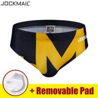 Jockmail marka Mayo Erkekler Bikini Düşük Bel Yüzme bavulları Hızlı Kuru Moda Mayo itin Pad Brifing Yıkanma Plaj Giyim