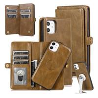 Cajas de cuero flip para iPhone 11 Pro Max 12 Mini XS X XR 8PLUS 7 6 6 6 6 6 6 6 6 6 6 6 6 6 6 6S Caja de cubierta del teléfono de la cartera magnética desmontable