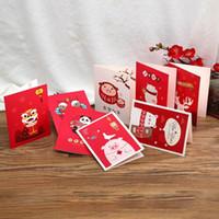 Carta di di 10pcs / set Capodanno Greeting Card di Natale Elk modello Benedizione Carte Panda Leone stile cinese modello nuovo anno
