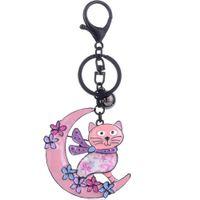 Anelli chiave di portachiavi blu smalto gatto per borse della spesa ciondolo cartoon cartoon animal moon charms gioielli keyring kids regali