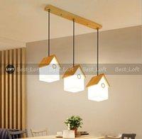 Ресторан люстра современной простая три личности творческих птичьего гнезда бар лампа, японское твердая древесина стекло маленькой люстра
