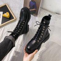 Rimocy White Black PU кожаные ботильоны женщины осень осень зима круговой носок кружева обувь женщина мода модный мотоцикл платформа botas