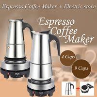 Elektrikli Soba Filtre Percolator Kahve Brewer Kettle Pot ile 200 / 450ml Taşınabilir Espresso Kahve Makinesi Moka Pot Paslanmaz Çelik