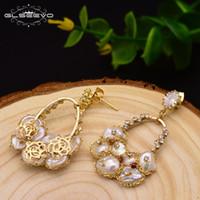 GLSEEVO 925 Gümüş Kulak Pim Doğal Tatlı Su Barok İnci Damla Küpe İçin Kadınlar Düğün Dangle Küpe Mücevher GE0324 200923