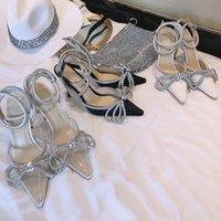 Лук кристалл высокой пятки женщина обувь свадьбы Мода Pumps 2020 Новый роскошный дизайнерский бренд женской обуви из натуральной кожи