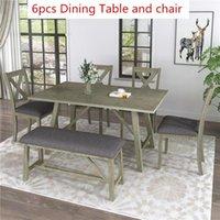 6 Stück Esstisch Set Holz Esstisch und Stuhl Küchentisch Set mit Tisch, Bank und 4 Stühlen, Rustikaler Stil, Grau SH000109AAE
