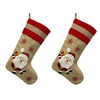 Meia do Natal Saco do presente do ornamento do Natal Stocking Set Pendant Saco do presente