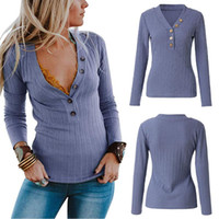 V Neck Spring avant Bouton de mode en tricot souple manches longues Casual solide Adulte Femme Sexy Pull Femmes Pull