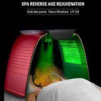 Mais recentes 7 cores PDF LED máscara facial terapia de luz de terapia de pele com spray frio acne removedor de beleza