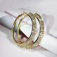 Hoop Huggie 30-70mm Mode Dubbele Rijen Crystal Rhinestone Grote Cirkel Ronde Dames Partij Oorbellen Basketbal Wives Loop Earings Gift