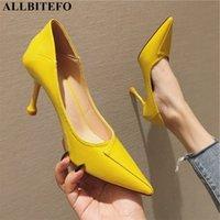 ALLBITEFO spitze Zehe hohe Absätze Art und Weise reizvolle gelbe Hochzeit Schuhe Frauen Schuhe Frauen-Absatz dünne Ferse Fersen