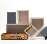 Boîte à papier Kraft Clear Cropting Kraft Boîtes de rangement de chaussures à la maison Deux Couleurs Carré Stockage Conteneurs Facue Résistant à l'automne 3 8YSA G2