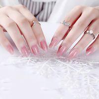 Falso 24pcs Clear Color de-rosa unhas de acrílico UV Gel completa Francês falsificados Dicas Art Nails Ferramentas Round / cabeça quadrada Falso prego com cola