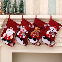 Рождество Большой чулки снеговика Санта-Клаус конфеты подарочные пакеты Держатели Xmas носки висячие украшения Рождественские Декор морской доставки LSK1102