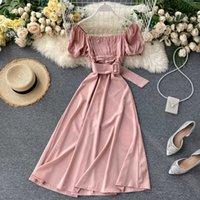 Casual Dresses Fitaylor Summer Spring Off Shoulder Slash Neck Belt Solid Women Female A-line High Wasit Midi Dress