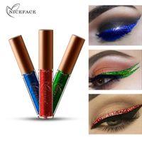 Eyeliner Nikace Elmas Glitter Göz Kalemi Su Geçirmez Makyaj Göz Farı Pigment Parlayan Sıvı Kalem Pırıltısı Mavi Uzun Ömürlü