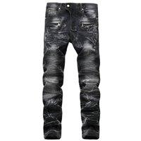 Blue 2021 Men Biker Brand Jeans Качество прямые джинсовые высокие черные дыры Мото брюки для евреев NLKAG