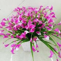 装飾的な花の花輪1束7フォーク21頭の頭部の葉のブーケのプラスチックの偽の赤い植物家の室の装飾