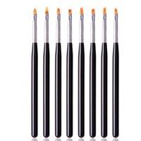 constructeur dessin brosse Nail Art stylo plat conseils de peinture acrylique épousseter vernis UV Gel outils de conception d'extension