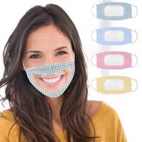 패션 립 언어 마스크 남성과 여성 격자 투명 마스크 야외 먼지와 안개 마스크 4 스타일