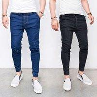 Moda Skinny Jeans Erkekler Düz İnce Elastik Kot Erkek Casual Biker Erkek Streç Kot Pantolon Klasik Pantolon