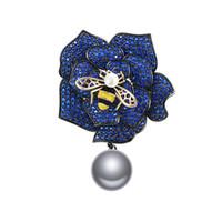Elegante Bee Flower Brooches Smowamel Pins Honeybee Crystal Rose Gioielli Pin Broach Bouquet da sposa Pin Brosche Femme Bijoux