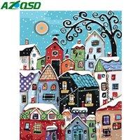AZQSD DIY Unframe Coloring nach Zahlen Cartoon auf Leinwand-Handwerk Acrylfarbe Kits nach Zahlen Malen für Erwachsene Town Wall Art