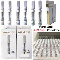 12 couleurs Pure One Vape Cartouches Appuyez sur dans l'embout buccal Bobine en céramique 510 Thread Battery Vaporisateurs 0.8ml PureOn PureOn Vide Piliers Vapes Stylos