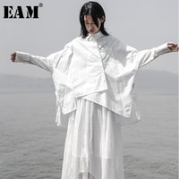 [EAM] 2020 Yeni Sonbahar Kış Yaka Uzun Kollu Beyaz Gevşek Oversize Düzensiz Gevşek Gömlek Kadınlar Bluz Moda Tide JS921