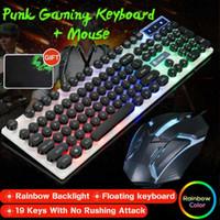 Teclado de jogos LED Mouse Pad GTX300 Keys Punk Circular Keycap Retroiluminado Arco-íris Ergonómico Redondo Capacidade Chapéu Capacidade Mecânica Combo
