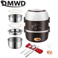 DMWD elétrico portátil Aquecimento Lunch Box Mini Arroz Aço Fogão inoxidável 3 Camadas Steamer piquenique refeição Container Warmer da UE